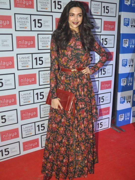 Deepika Padukone wearing weathered florals