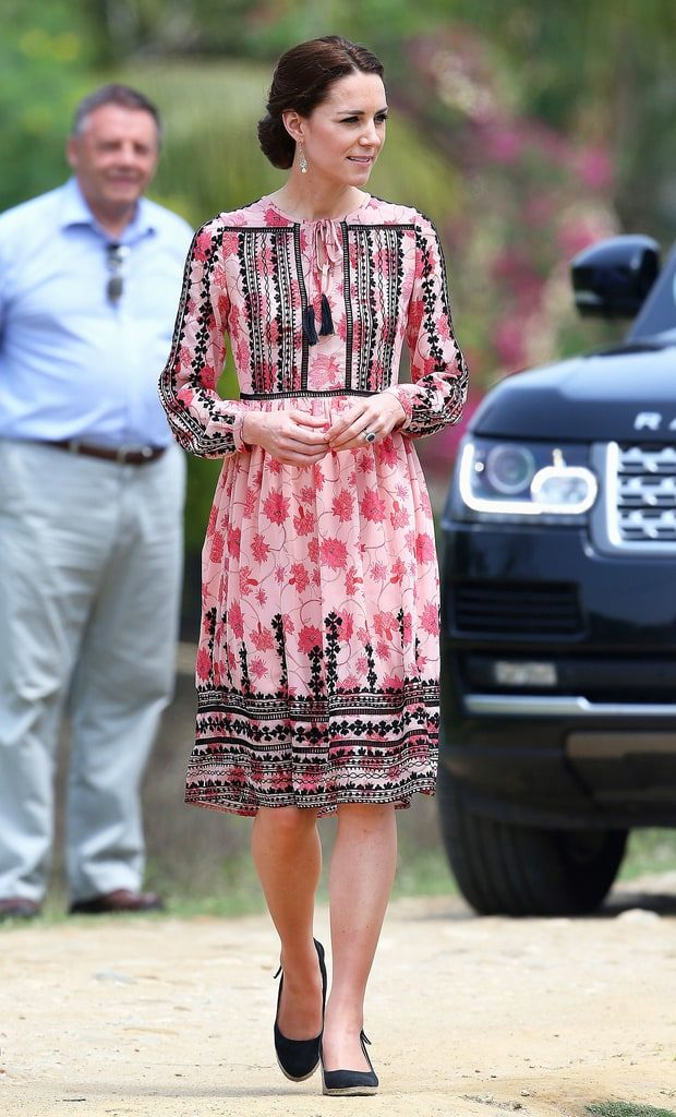 Kate Middleton wearing weathered florals
