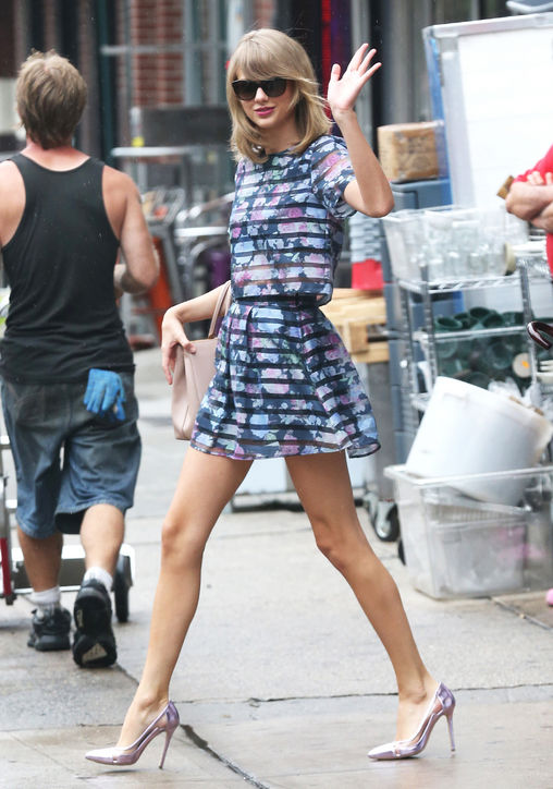 Taylor Swift wearing weathered florals