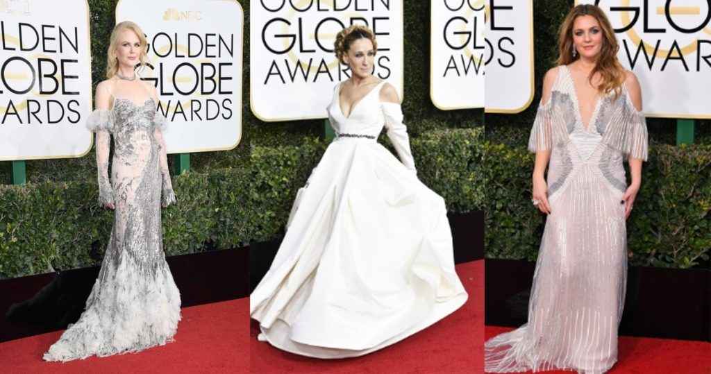 Nicole Kidman, Sarah Jessica Parker and Drew Barrymore sporting the cold shoulder trend at the Golden Globes 2017