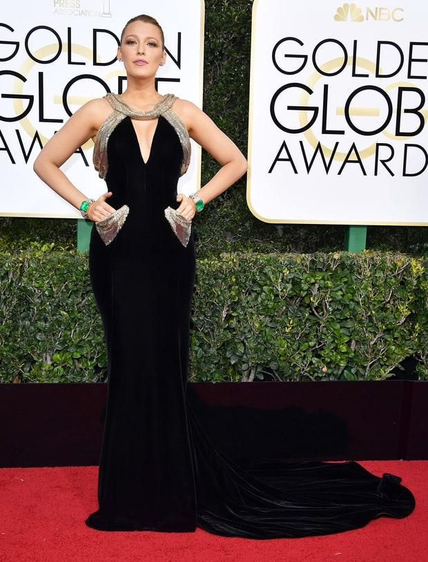 Blake Lively sporting velvet at the Golden Globes 2017