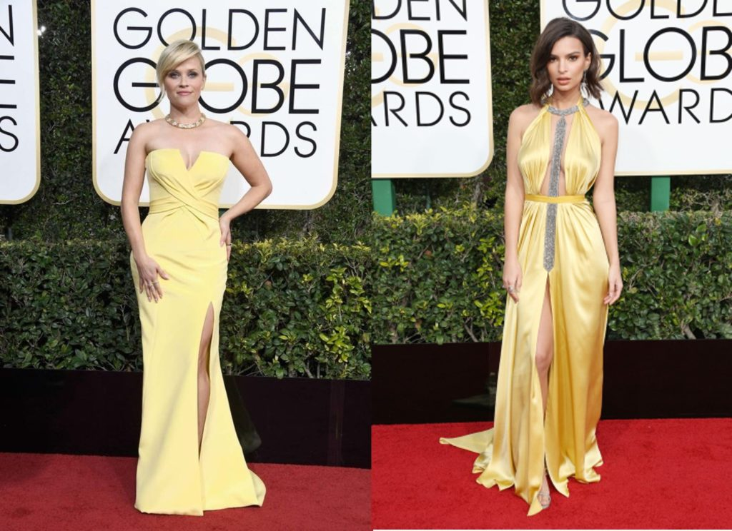 Reese Witherspoon and Emily Ratajkowski in yellow dresses at the Golden Globes 2017