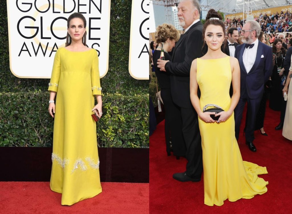 Natalie Portman and Maisie Williams in yellow at the Golden Globes 2017
