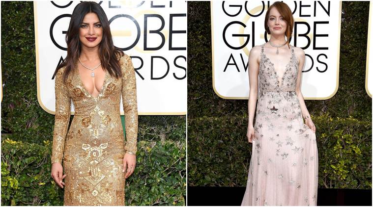 Priyanka Chopra and Emma Stone show off plunging necklines at the Golden Globes