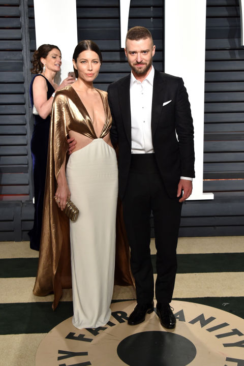 Jessica Biel and Justin Timberlake at the Vanity Fair Oscars after party