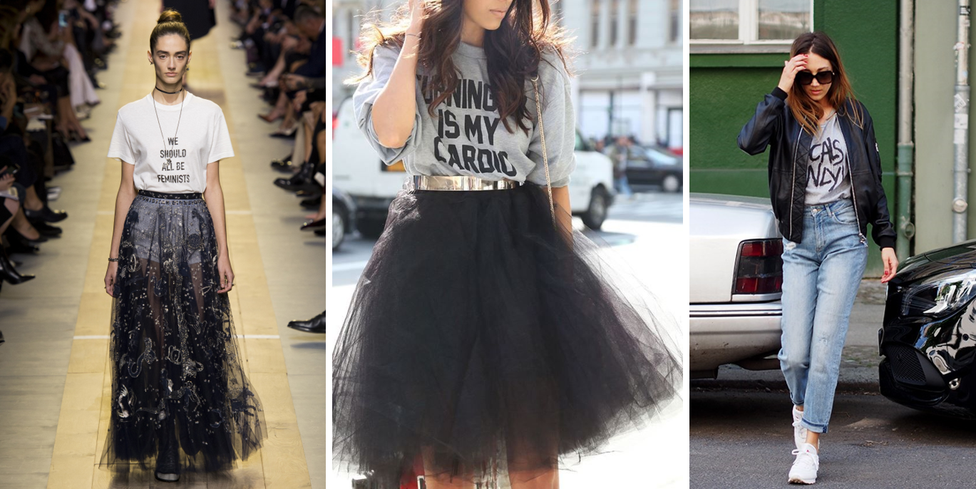 slogan tee and tulle skirt